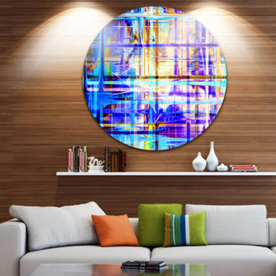 Design Art Blue Abstract Grid Disc Large AbstractCircle Metal Wall Art