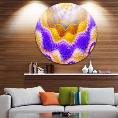 Design Art Blue Yellow Snake Skin Flower AbstractRound Circle Metal Wall Decor Panel