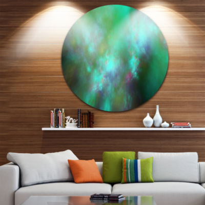 Design Art Blue Fractal Sky with Blur Stars Abstract Round Circle Metal Wall Decor