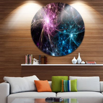 Design Art Blue Pink Colorful Fireworks Abstract Art on Round Circle Metal Wall Decor Panel