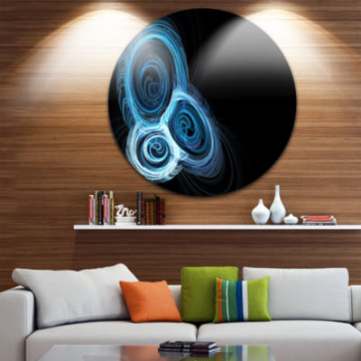 Design Art Blue Spiral Nebula on Black Abstract Round Circle Metal Wall Decor Panel