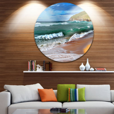Design Art Blue Sea with Warm Waves Seascape Circle Metal Wall Art