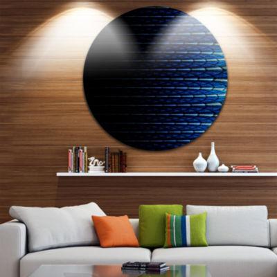 Design Art Blue Symmetrical Fractal Flower Abstract Round Circle Metal Wall Decor