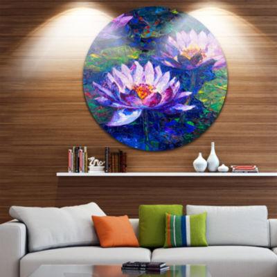 Design Art Blue Lotus Oil Painting Floral Circle Metal Wall Art