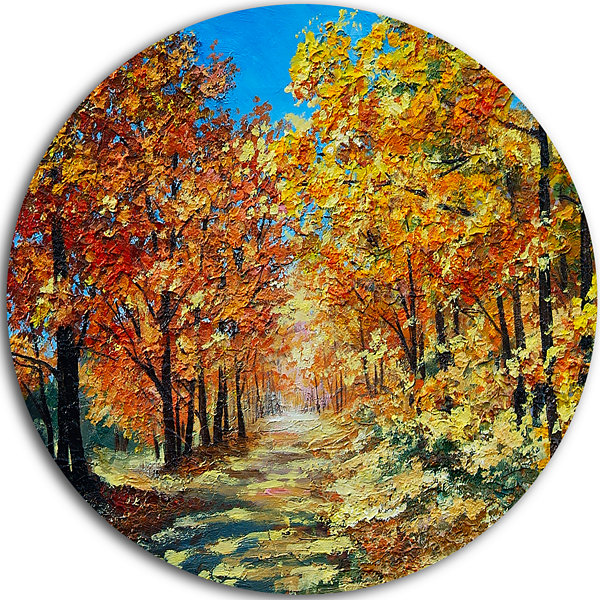Design Art Bright Day in Autumn Forest Landscape Circle Metal Wall Art