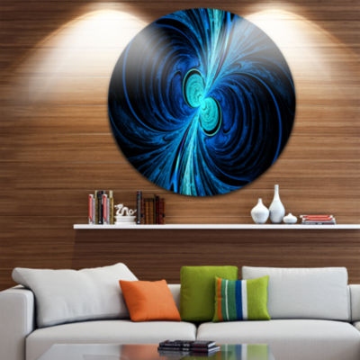 Design Art Blue Fractal Abstract Circle Metal WallArt