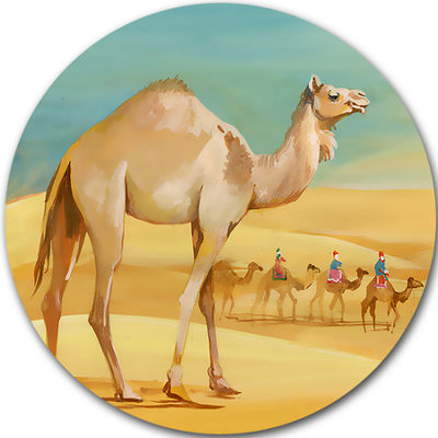 Design Art Camel Walking in Desert Disc WatercolorAnimal Circle Metal Wall Art