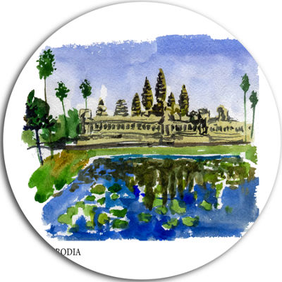 Design Art Cambodia Vector Illustration Disc Cityscape Painting Circle Metal Wall Art