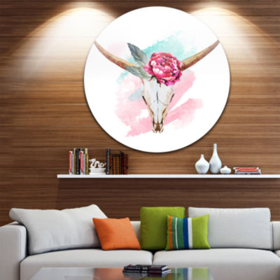 Design Art Bull Skull and Flower Disc Floral Circle Metal Wall Art