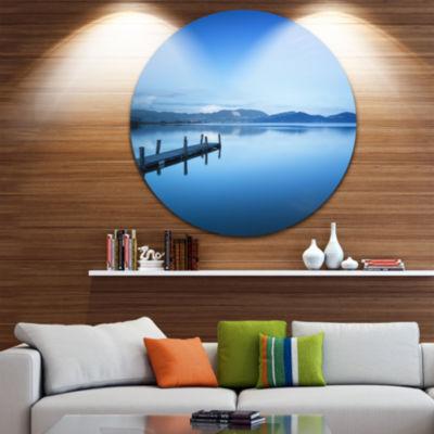 Design Art Bright Blue Sky with Pier Seascape Circle Metal Wall Art