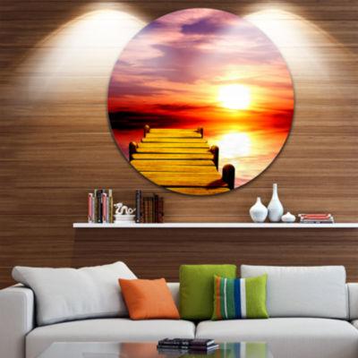 Design Art Burning Sunset in Blue Sky Seascape Circle Metal Wall Art