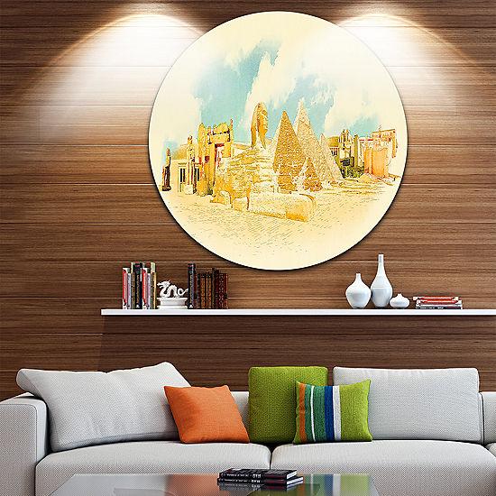 Design Art Cairo Panoramic View Disc Cityscape Watercolor Circle ...