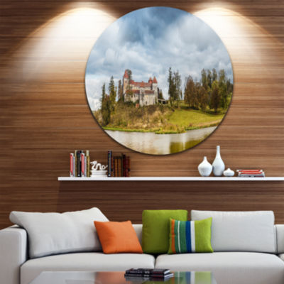 Design Art Castle by the Lake Disc Photography Landscape Circle Metal Wall Art