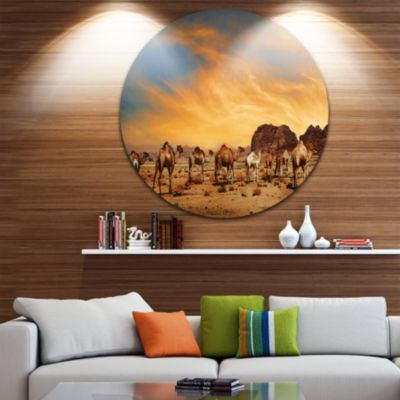Design Art Camels in Wadi Rum Disc Photography Circle Metal Wall Art