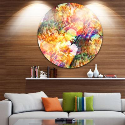 Design Art Bokeh Flowers Seamless Floral Metal Circle Wall Art