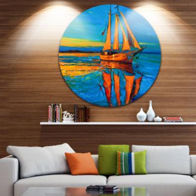 Design Art Brown Sailing Boat Disc Seascape CircleMetal Wall Art