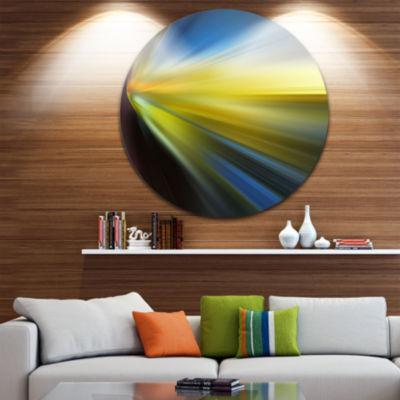Design Art Brown Blue Focus Light Abstract CircleMetal Wall Art
