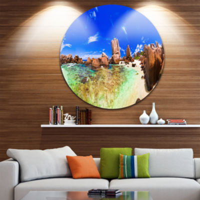 Design Art Bright Tropical Beach Panorama Disc Landscape Photography Circle Metal Wall Art