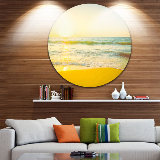 Design Art Calm and Colorful Sunset at Beach Seascape Circle Metal Wall Art