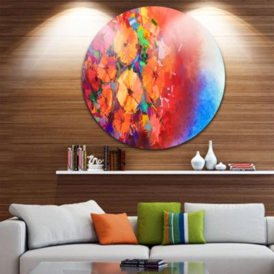 Design Art Bouquet of Gerbera Flowers Disc FloralCircle Metal Wall Art