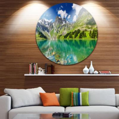 Design Art Bright Day Mountain Lake Disc Photography Circle Metal Wall Art