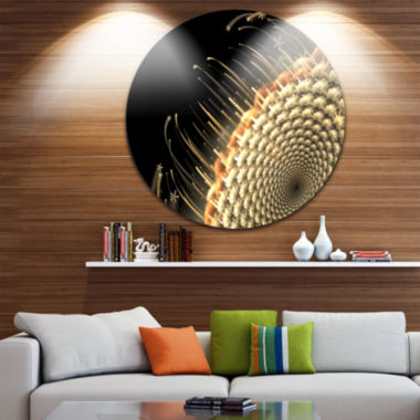 Design Art Brown Fractal Flower Pattern Floral Circle Metal Wall Art