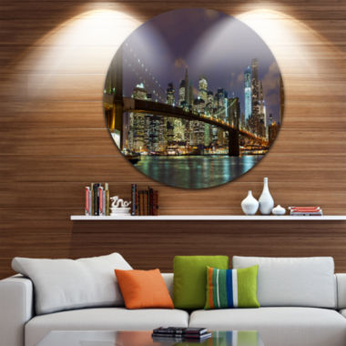 Design Art Brooklyn Bridge Panoramic View Cityscape Photo Circle Metal Wall Art