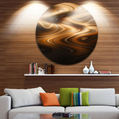 Design Art Brown Curved Waves Texture Large Abstract Circle Metal Wall Art