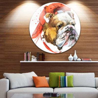 Design Art Bulldog Illustration Art Animal Metal Circle Wall Art