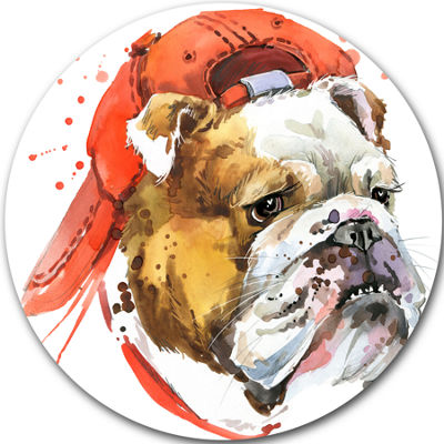 Design Art Bulldog Illustration Art Animal Metal Circle Wall Art