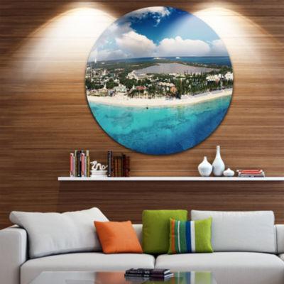 Design Art Caribbean Coast Tropical Panorama DiscSeascape Circle Metal Wall Art