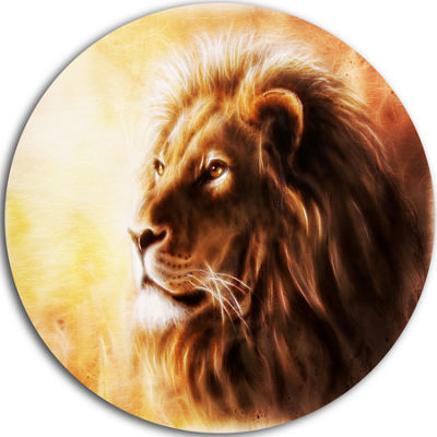 Design Art Brown Lion Fractal Disc Animal Circle Metal Wall Art