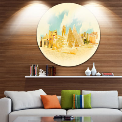 Design Art Cairo Panoramic View Disc Cityscape Watercolor Circle Metal Wall Art