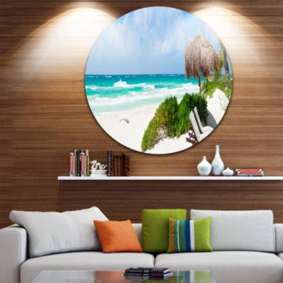 Design Art Calm Caribbean Beach Panorama Disc Photography Landscape Circle Metal Wall Art