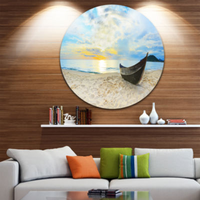 Design Art Calm Beach Panorama Photography CircleMetal Wall Art