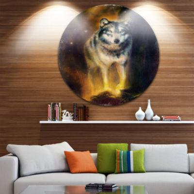 Design Art Calm Wolf Illustration Disc Animal Circle Metal Wall Art