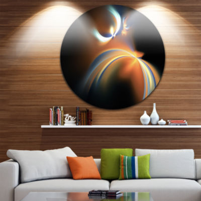 Design Art Brown Floating Fractal Designs AbstractArt on Round Circle Metal Wall Decor Panel