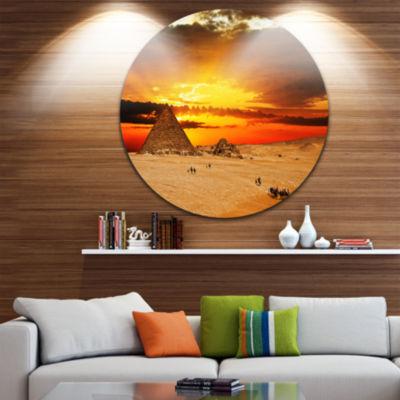Design Art Camel Caravan at Sunset Disc LandscapePhotography Circle Metal Wall Art