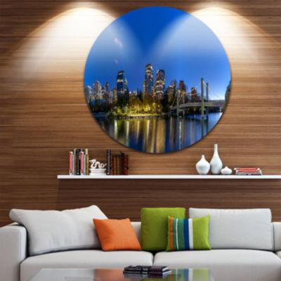 Design Art Calgary Skyline Disc Cityscape Photography Circle Metal Wall Art