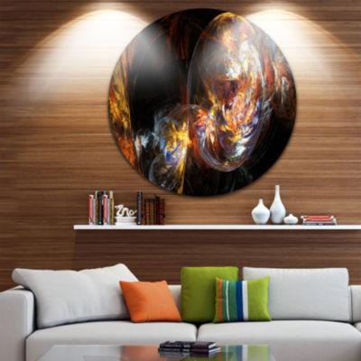 Design Art Bubble Smoke Golden Abstract Circle Metal Wall Art
