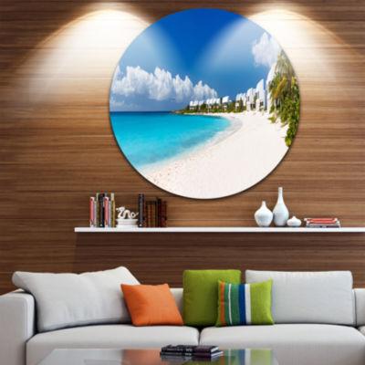 Design Art Caribbean Beach Panorama Landscape Photo Circle Metal Wall Art