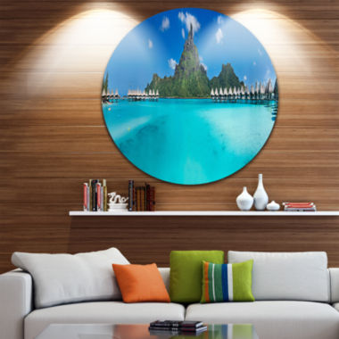 Design Art Bora Bora Panorama Beach Disc SeascapeCircle Metal Wall Art