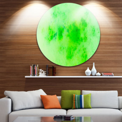 Design Art Bright Green Starry Fractal Sky Abstract Round Circle Metal Wall Decor