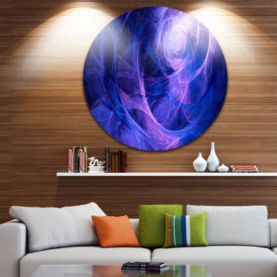 Design Art Bright Blue Stormy Sky Abstract CircleMetal Wall Art