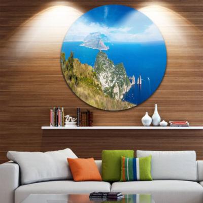 Design Art Capri Island in Italy Disc PhotographyCircle Metal Wall Art