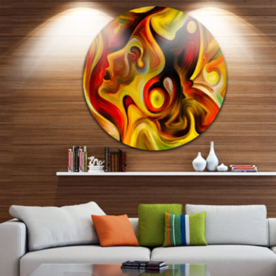 Design Art Butterfly s Emotions Abstract Metal Circle Wall Art