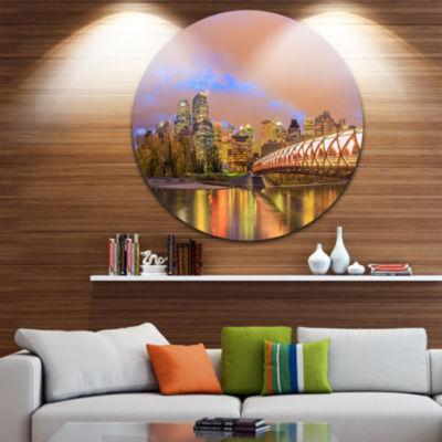 Design Art Calgary at Night Disc Cityscape Photography Circle Metal Wall Art