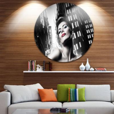 Design Art Brunette Woman with Red Lips Disc WomanPortrait Circle Metal Wall Art