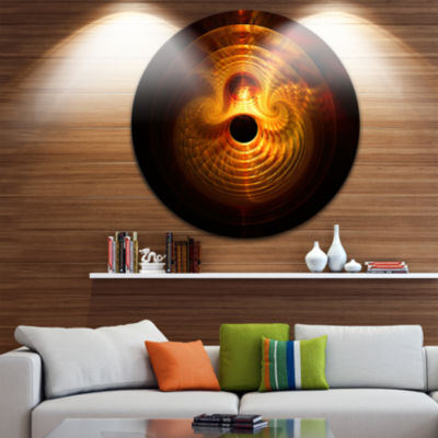 Design Art Bright Yellow Magical Lights Abstract Art on Round Circle Metal Wall Decor Panel