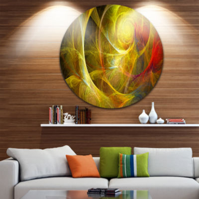 Design Art Bright Yellow Stormy Sky Abstract Circle Metal Wall Art